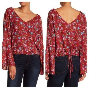 NWT Nostalgia Ladder Lace Floral Top Size Large